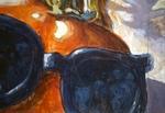 Upclose tomatoe with sunglasses