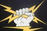 Hand holding lightening bolts