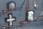 Head stones graffiti