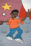 Boy dancing on moon