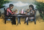 Man and woman eating