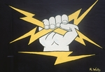 Fist with lightening bolts
