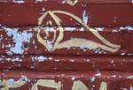 Yellow graffiti on red